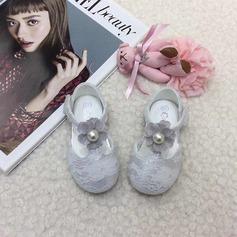 Ребенка Круглый носок Балетная квартира шнурок Плоский каблук На плокой подошве Обувь для девочек с Имитация Перл На липучке Цветок (207157196)