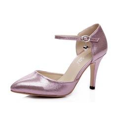 Similicuir Talon stiletto Escarpins Bout fermé avec Boucle chaussures (085052689)