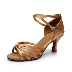 Femmes Satiné Talons Sandales Latin avec Lanière de cheville Chaussures de danse (053053099)
