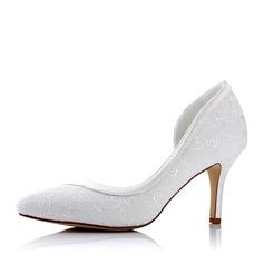 Женщины Кружева шелка как атласное Высокий тонкий каблук На каблуках с Аппликация (047117237)
