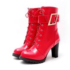 Женщины кожа Устойчивый каблук На каблуках Ботинки с пряжка Застежка-молния обувь (088107264)