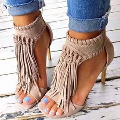 Женщины Замша Высокий тонкий каблук Сандалии с Застежка-молния кисточкой обувь (087114608)