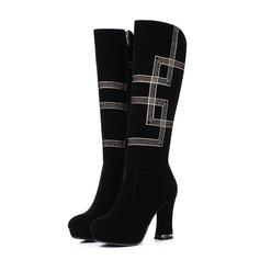 Женщины Замша Устойчивый каблук На каблуках Сапоги до колен с Каблуки с украшением Другие обувь (088103939)