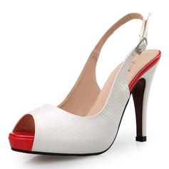 Женщины кожа Высокий тонкий каблук Сандалии На каблуках Открытый мыс Босоножки с пряжка Животных печати обувь (085095167)