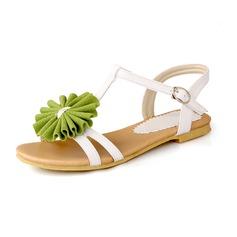 Konstläder Flat Heel Sandaler Platta Skor / Fritidsskor med Spänne Blomma skor (087050442)