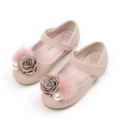 Jentas Round Toe Microfiber Lær flat Heel Flate sko med Imitert Perle Velcro Blomst (207131876)