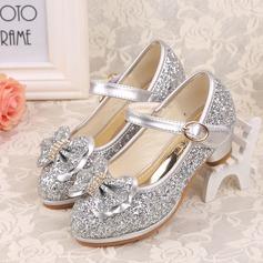 Girl's Closed Toe sprankelende glitter low Heel Pumps Bloemenmeisje schoenen met strik Lovertje Velcro Roes (207150954)