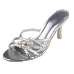 Женщины кожа Высокий тонкий каблук Открытый мыс На каблуках Сандалии с Имитация Перл (047061215)