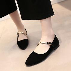 Женщины Замша Плоский каблук На плокой подошве Закрытый мыс Mary Jane с блестками обувь (086119364)