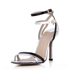 Leatherette Patent Leather Stiletto Heel Sandals Pumps Peep Toe Slingbacks With Buckle shoes (087042779)