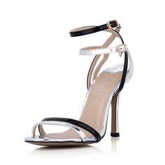 Imitatieleer Patent Leather Stiletto Heel Sandalen Pumps Peep Toe Slingbacks met Buckle schoenen (087042779)