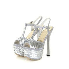 Satin Spule Absatz Sandalen Plateauschuh mit Pailletten Schuhe (087023585)
