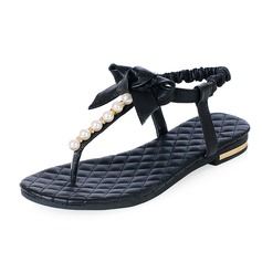 Echtleder Flascher Absatz Sandalen Flache Schuhe mit Des Bowknot Nachahmungen von Perlen Schuhe (087047500)