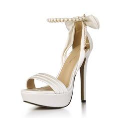 Kvinnor Plast Stilettklack Sandaler Pumps Peep Toe med Bowknot skor (117153673)