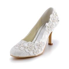 Женщины кружева Высокий тонкий каблук Закрытый мыс На каблуках с горный хрусталь цветы (047042433)