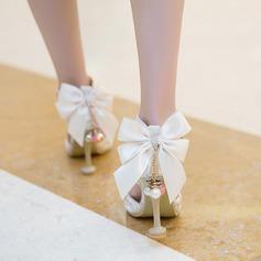 Женщины бархат Высокий тонкий каблук Сандалии На каблуках Закрытый мыс с горный хрусталь бантом пряжка обувь (085127080)