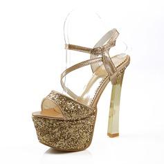 Женщины кожа Высокий тонкий каблук Сандалии На каблуках Платформа с Мерцающая отделка обувь (087093371)
