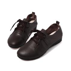 Couro verdadeiro Sem salto Sem salto Fechados com Aplicação de renda sapatos (086042583)