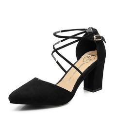 Женщины Замша Устойчивый каблук Закрытый мыс обувь (085150499)