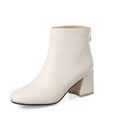 Femmes PU Talon bottier Escarpins Bottes Bottines avec Zip chaussures (088153014)