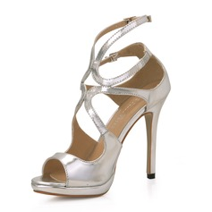 Women's Patent Leather Stiletto Heel Sandals Platform Peep Toe shoes (087017926)