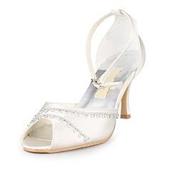 Mulher Cetim Salto agulha Peep toe Sandálias com Imitação de Diamantes (047010757)