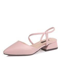 Женщины кожа Плоский каблук На плокой подошве Закрытый мыс Босоножки обувь (086155825)