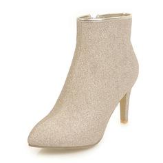 Vrouwen Sprankelende Glitter Stiletto Heel Pumps Laarzen Half-Kuit Laarzen met Rits schoenen (088143757)