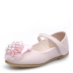 девичий Круглый носок Закрытый мыс дерматин Плоский каблук Обувь для девочек с развальцовка бантом На липучке Цветок (207121302)
