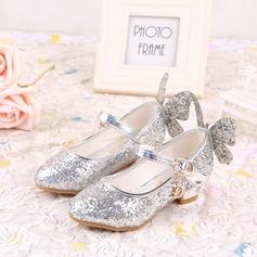 Jentas Lukket Tå Leather lav Heel Pumps Flower Girl Shoes med Bowknot Glitrende Glitter Velcro (207134064)