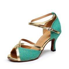 Женщины Ткань На каблуках Сандалии Латино с Ремешок на щиколотке Обувь для танцев (053075260)