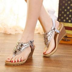 Femmes PU Talon compensé Sandales Compensée avec Strass Élastique chaussures (087127474)