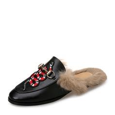 Женщины кожа Плоский каблук На плокой подошве Босоножки с пряжка мех обувь (086154822)