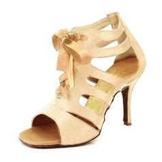Женщины Атлас На каблуках Сандалии На каблуках Латино с Шнуровка Обувь для танцев (053095758)