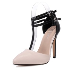Женщины PU Высокий тонкий каблук На каблуках Закрытый мыс с пряжка обувь (085153095)