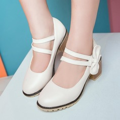 Женщины кожа Устойчивый каблук На каблуках Платформа Закрытый мыс с бантом обувь (085153089)