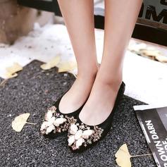 Женщины PU Плоский каблук На плокой подошве Закрытый мыс с горный хрусталь обувь (086141250)