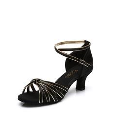 Женщины Атлас На каблуках Сандалии Латино с Ремешок на щиколотке пряжка Обувь для танцев (053113007)