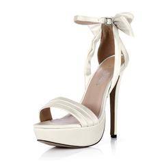 Женщины шелка как атласное Высокий тонкий каблук Открытый мыс Платформа На каблуках с бантом пряжка (047042802)