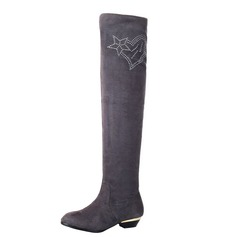Women's Suede Low Heel Over The Knee Boots With Rhinestone shoes (088040851)