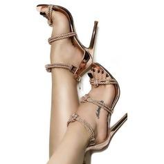 Женщины кожа Высокий тонкий каблук Сандалии На каблуках Открытый мыс с Застежка-молния Плетеный ремень обувь (087124929)