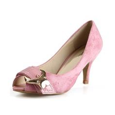 Mocka Cone Heel Sandaler Peep Toe med Paljetter skor (087049297)