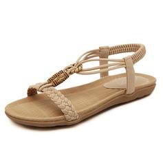 Женщины кожа Плоский каблук Сандалии с Другие обувь (087093241)