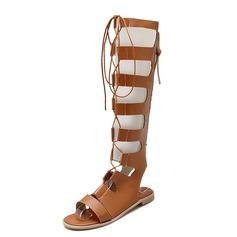 Kvinner Lær Flat Hæl Sandaler Flate sko Slingbacks Knehøye Støvler med Glidelås sko (087087847)