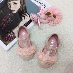 Ребенка Круглый носок Балетная квартира шнурок Плоский каблук На плокой подошве Обувь для девочек с На липучке Цветок (207157197)