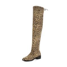 Vrouwen Suede Chunky Heel Laarzen Over De Knie Laarzen met Vastrijgen schoenen (088143749)