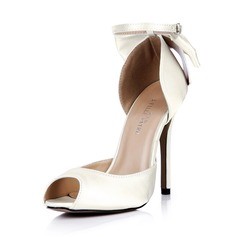 Women's Silk Like Satin Stiletto Heel Peep Toe Pumps With Bowknot Buckle (047042634)