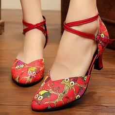 Женщины кожа На каблуках На каблуках Бальные танцы с Животных печати Ремешок на щиколотке Обувь для танцев (053108803)