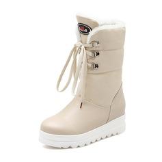 Женщины кожа Низкий каблук Полусапоги обувь (088074447)