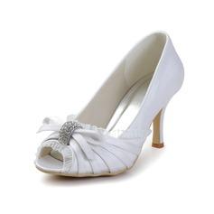 Vrouwen Satijn Cone Heel Peep Toe Sandalen met Strik Bergkristal (047033117)
